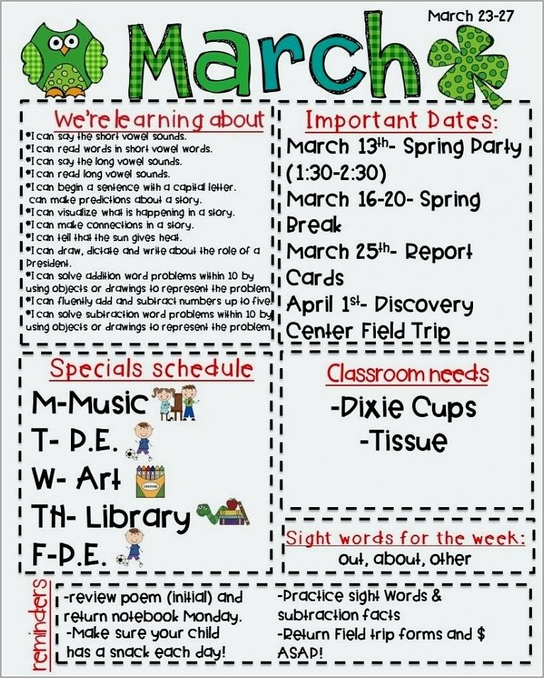Free March Newsletter Templates For Teachers
