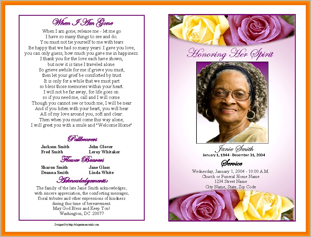 Free Microsoft Word Templates For Funeral Programs