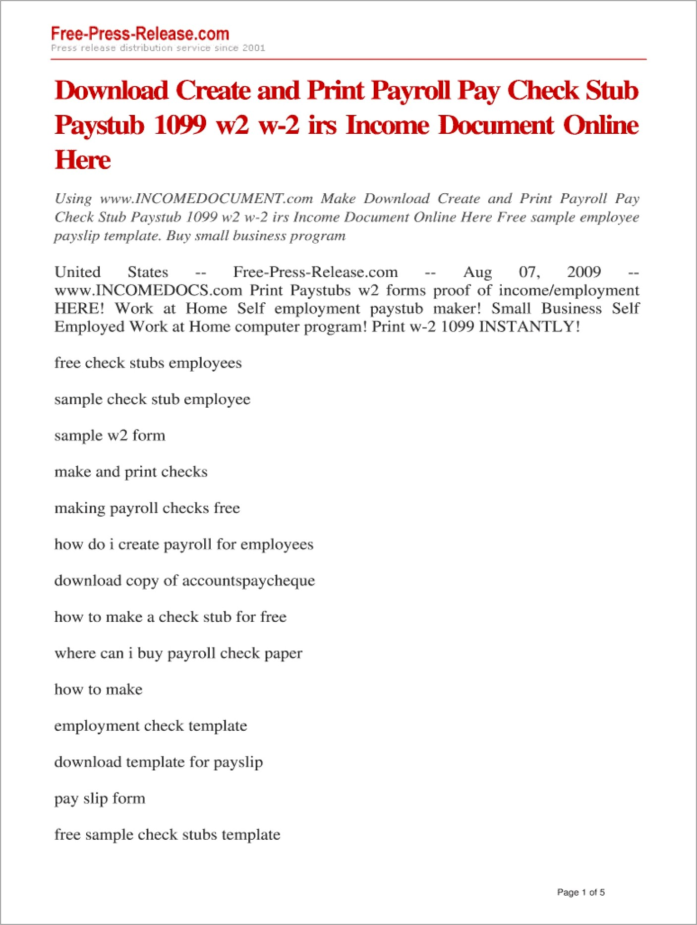 Free Paycheck Stubs Template Downloads