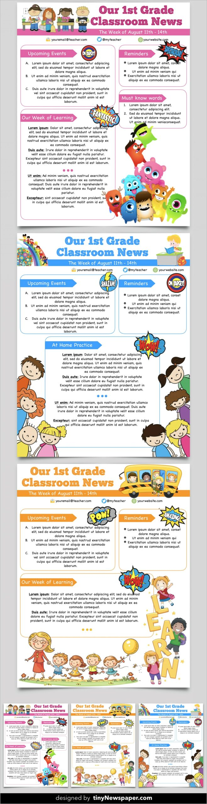 Free Printable Monthly Newsletter Templates For Teachers