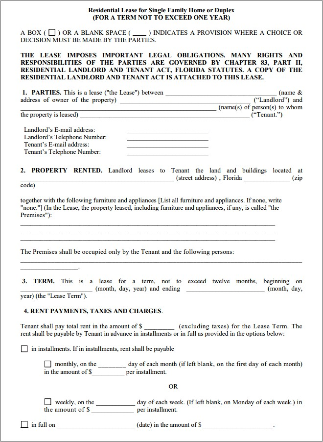 Free Residential Lease Agreement Florida Pdf