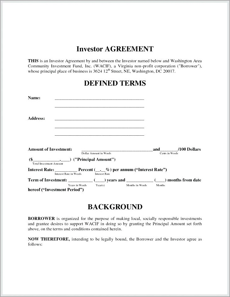 Free Sample Investor Agreement Contract