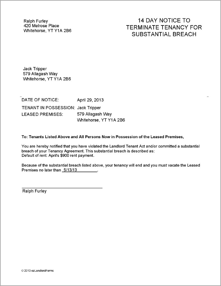 Free Sample Tenant Lease Termination Letter