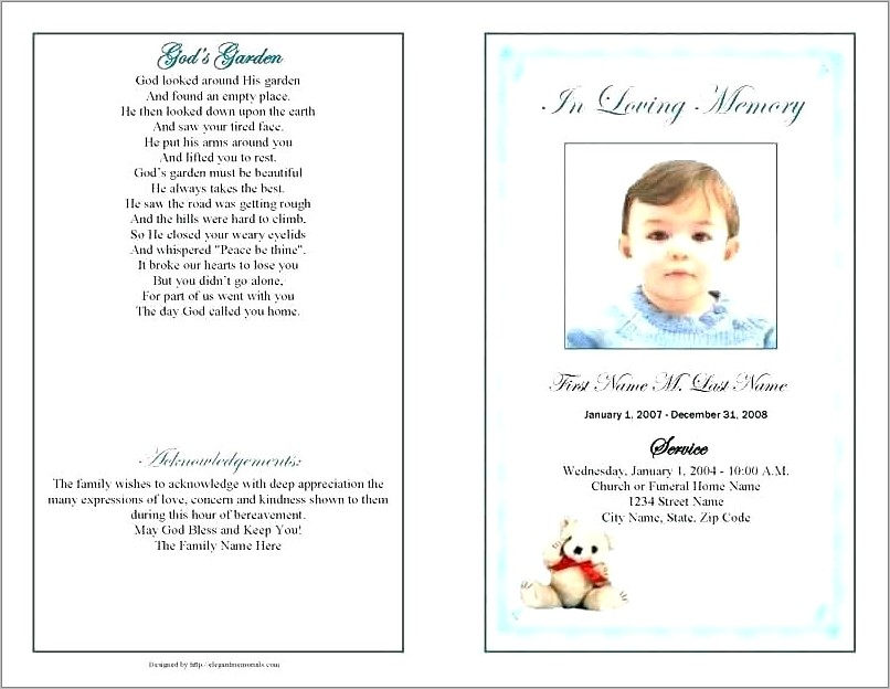 Free Samples Of Funeral Programs Templates