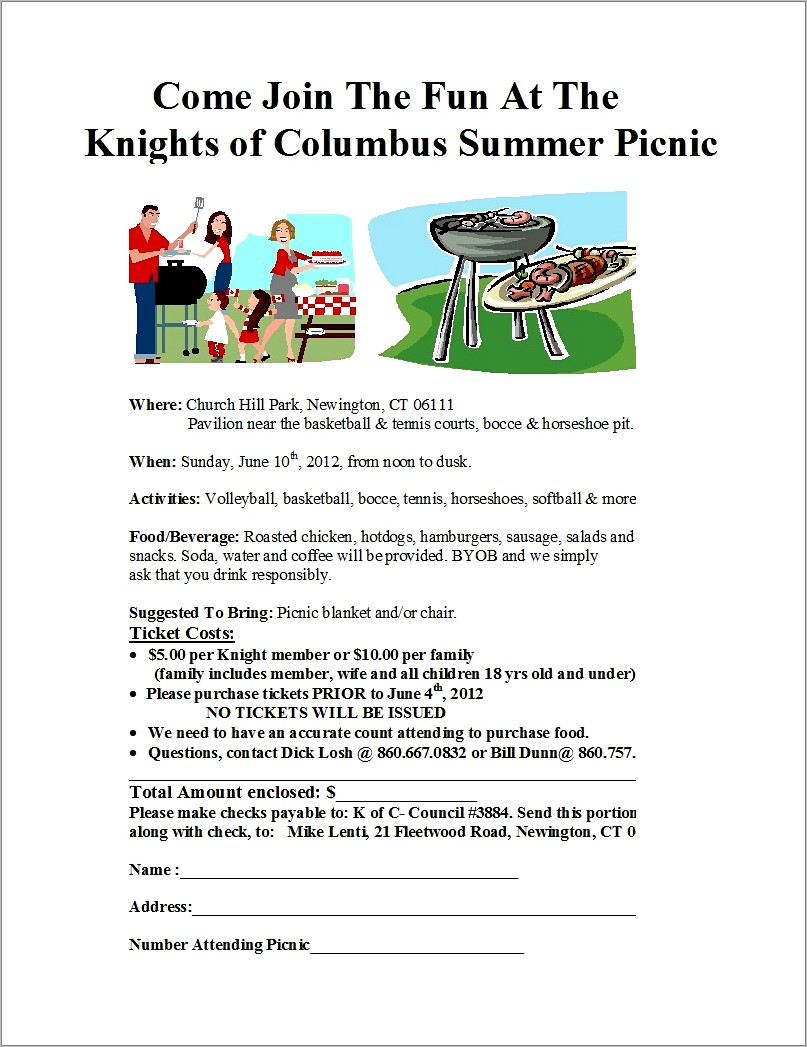 Free Summer Picnic Flyer Template Word