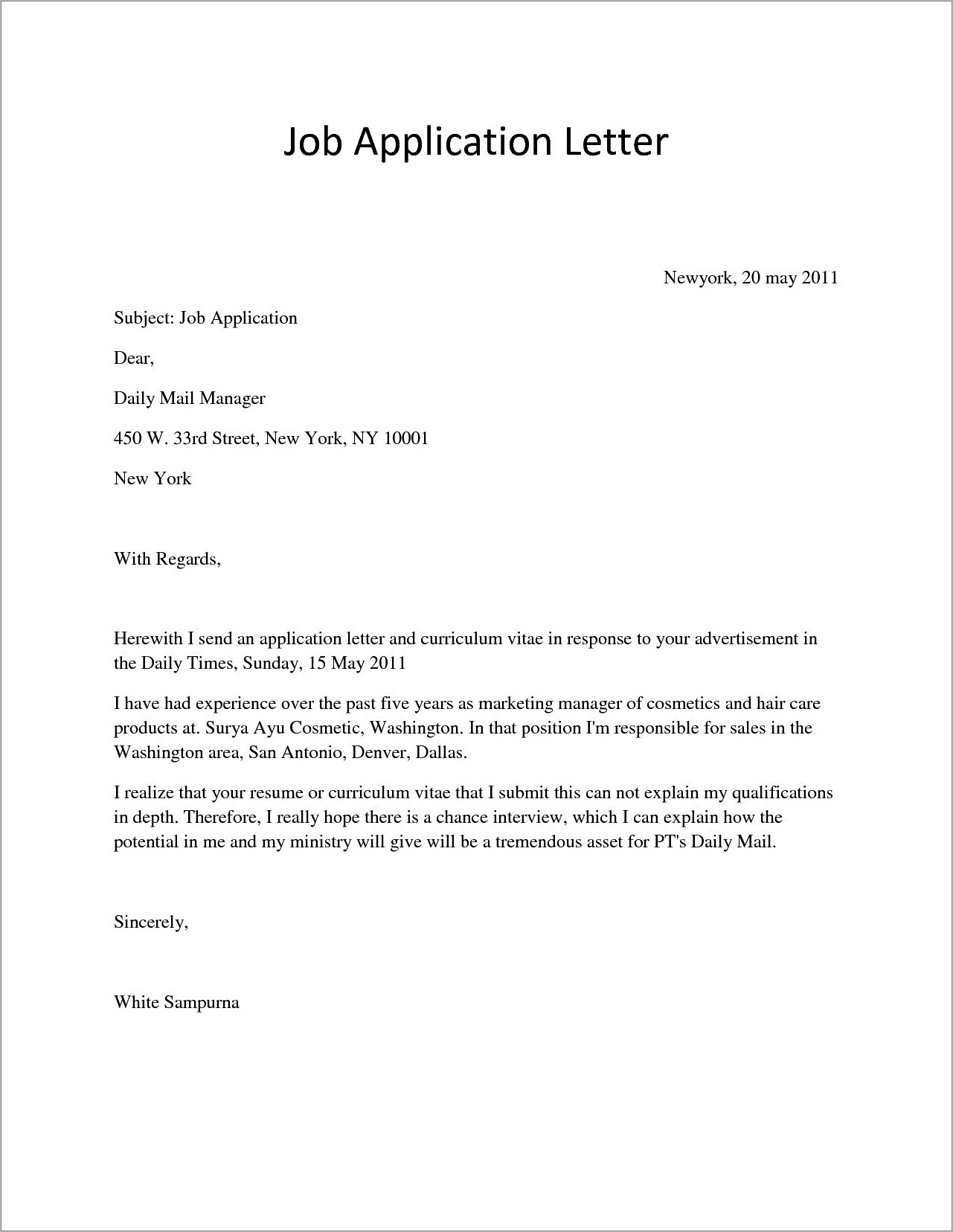 Free Word Document Template For Resume