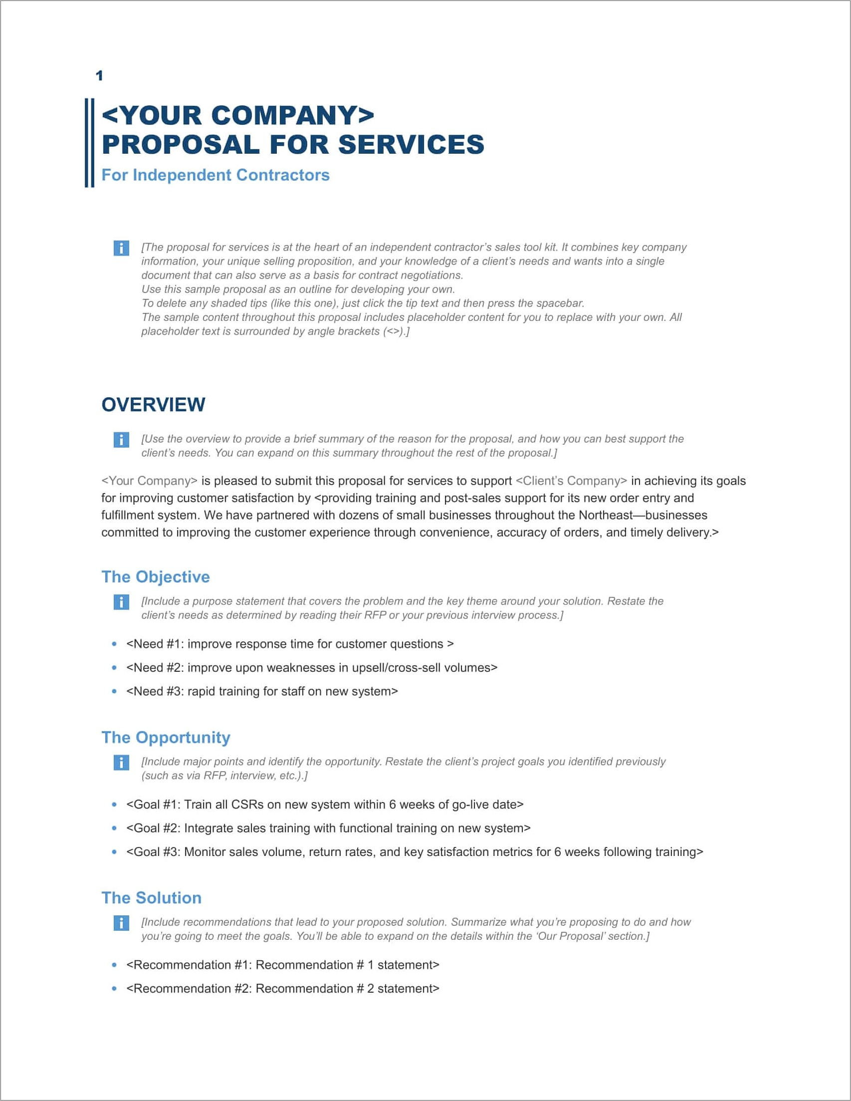 Free Word Templates For Proposals