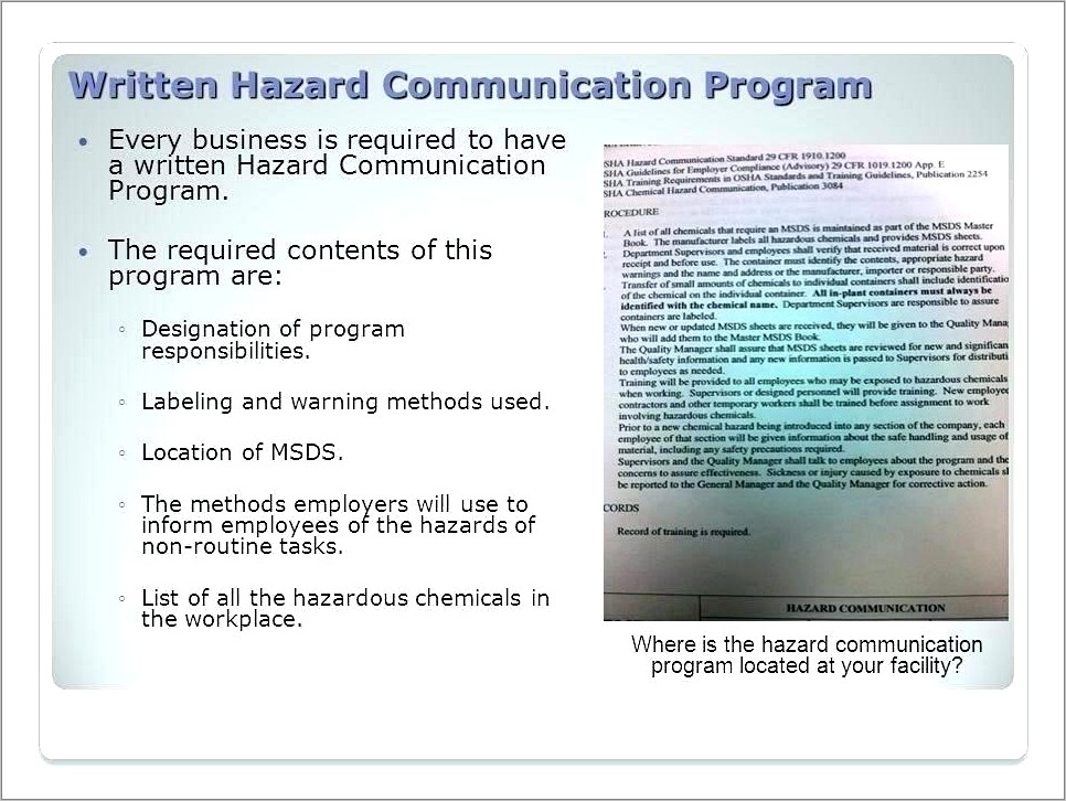 Free Written Hazard Communication Program Template
