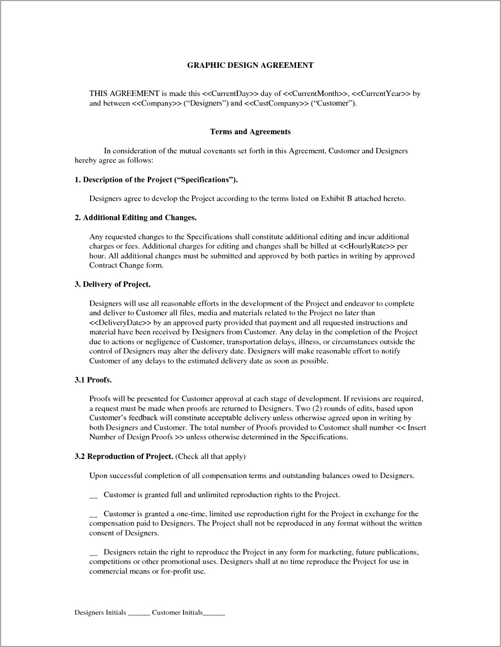Freelance Contract Template Graphic Design