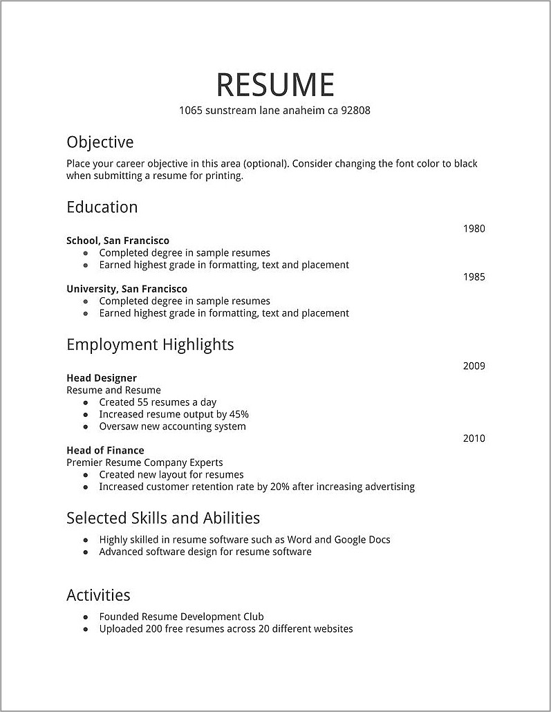 Fresher Resume Template Free Download