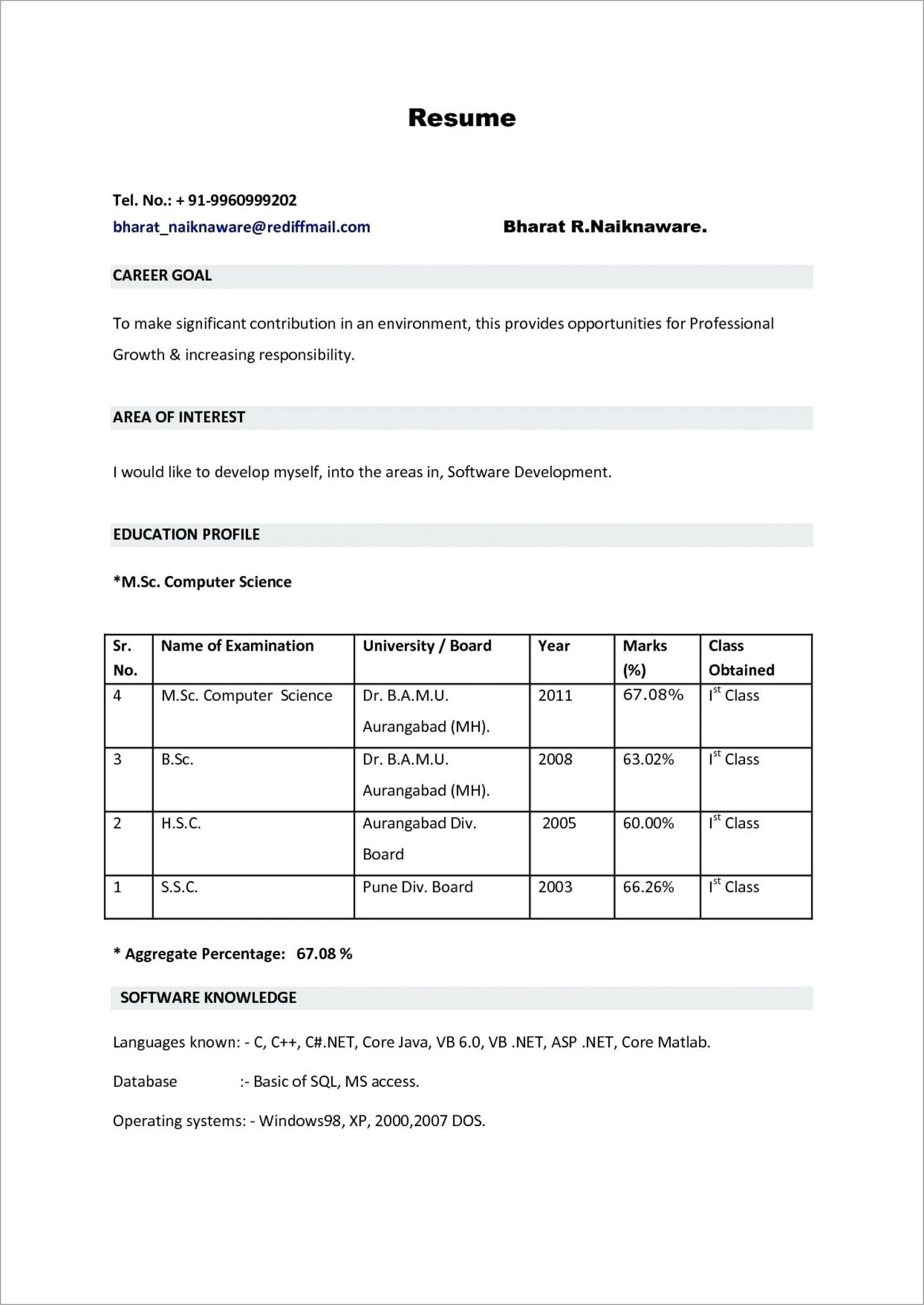 Fresher Resume Template Word Download