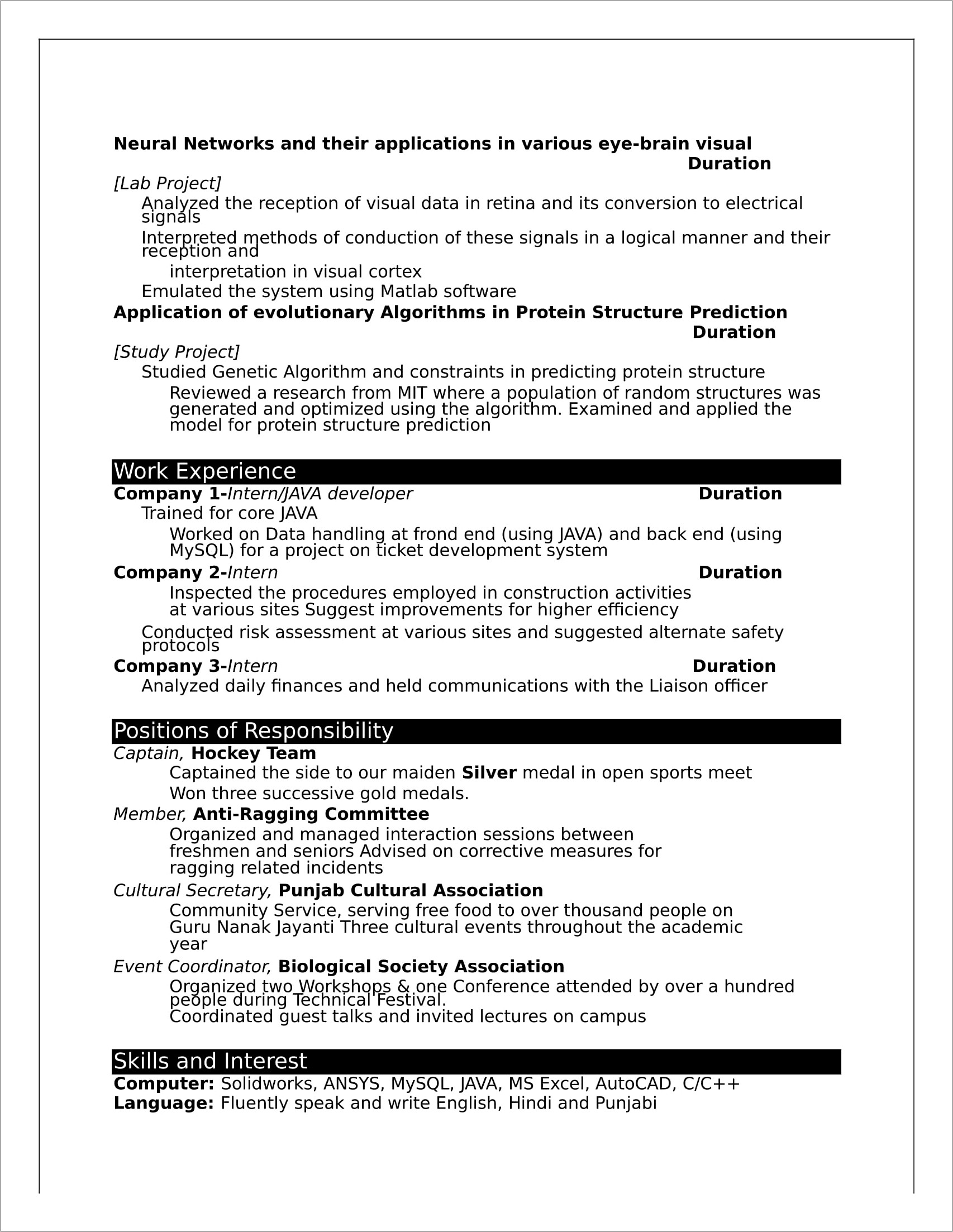 Fresher Resume Templates Word