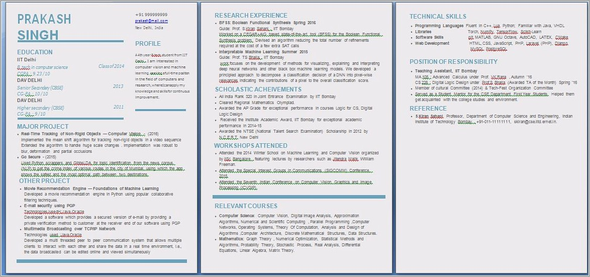 Fresher Resume Word Format Free Download