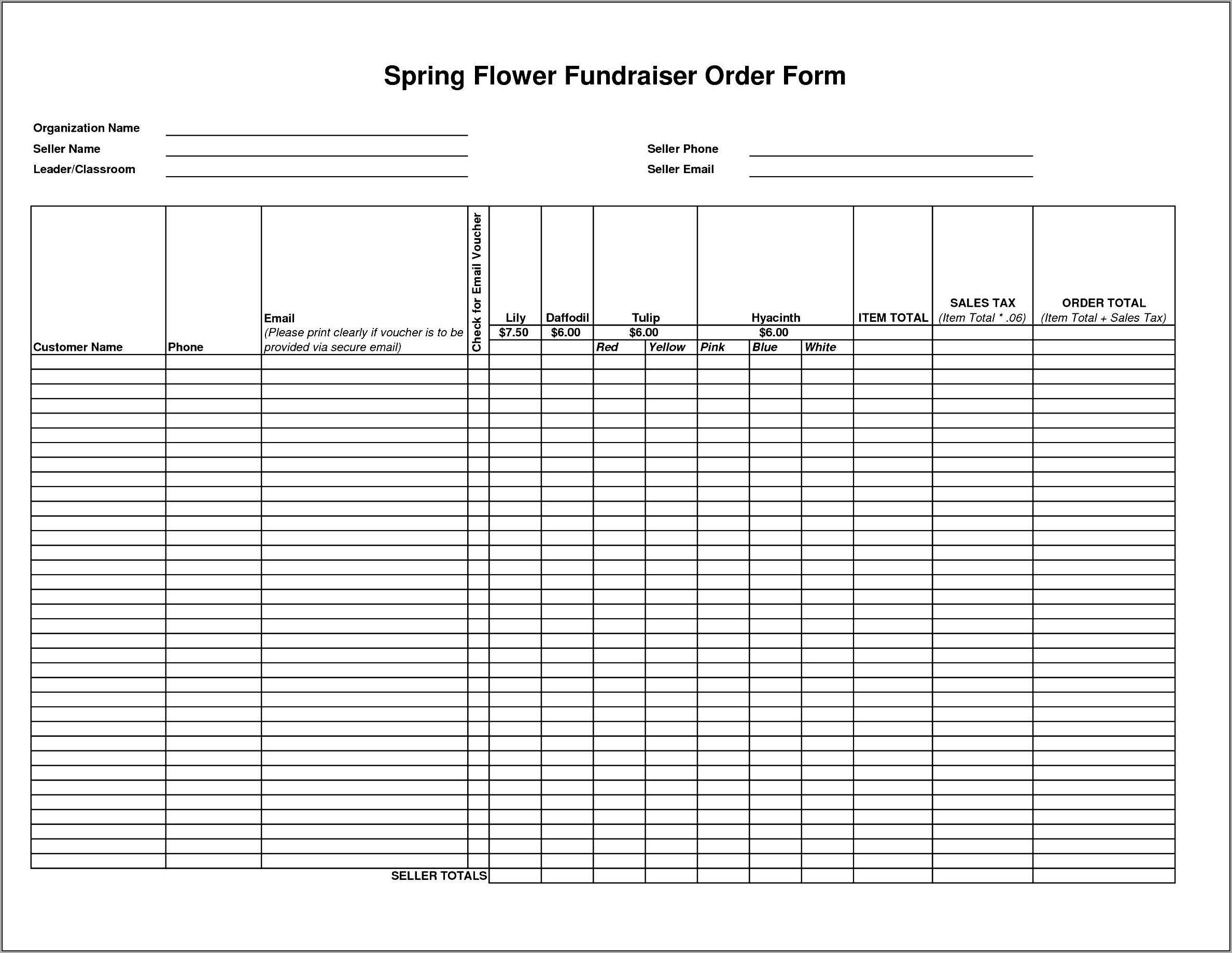 Fundraiser Order Form Template Free Download