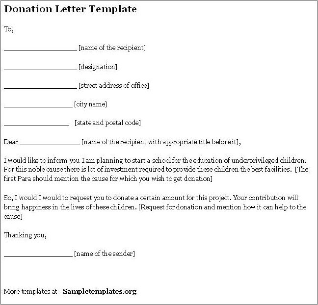 Fundraising Donation Letter Template Free
