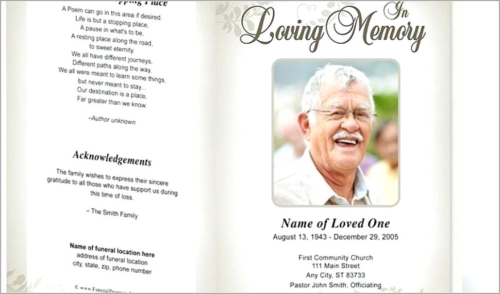 Funeral Leaflet Template Free