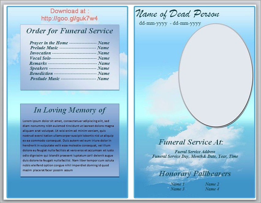 Funeral Pamphlet Template Free