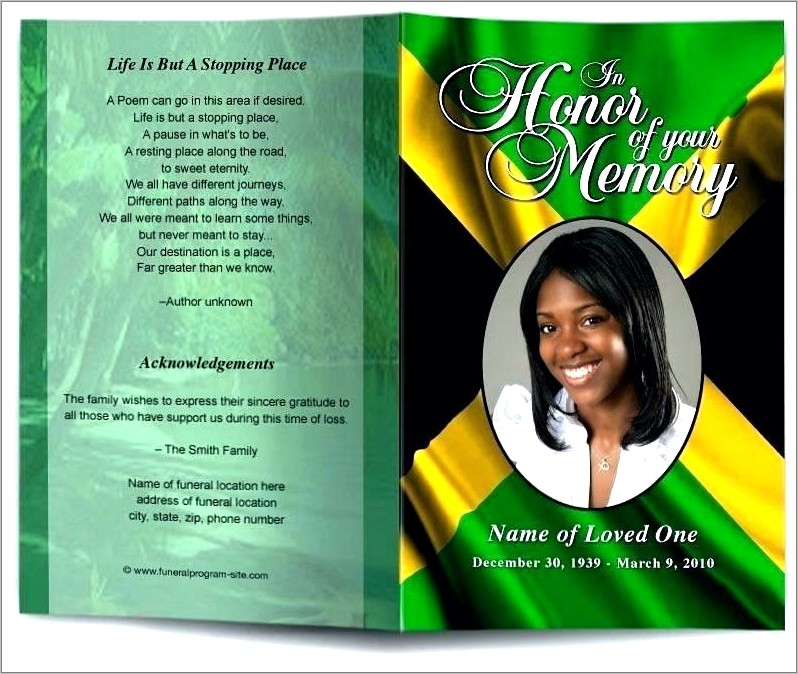 Funeral Program Examples Free