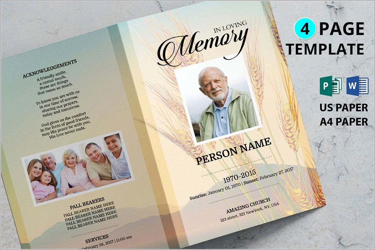 Funeral Program Template Download Free