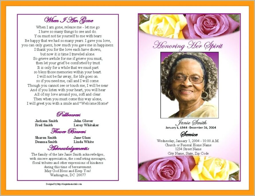 Funeral Program Templates Free Microsoft Word