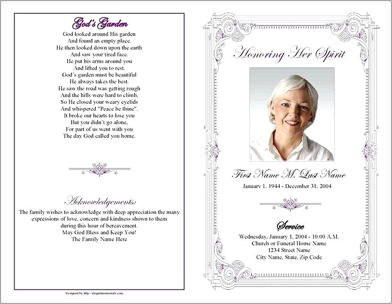 Funeral Service Program Examples Free