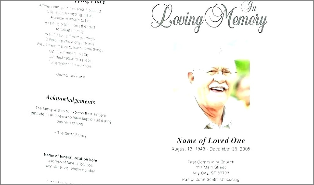 Funeral Service Program Examples