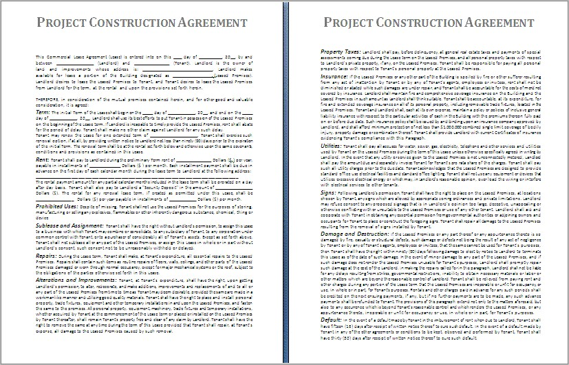 General Construction Contract Sample