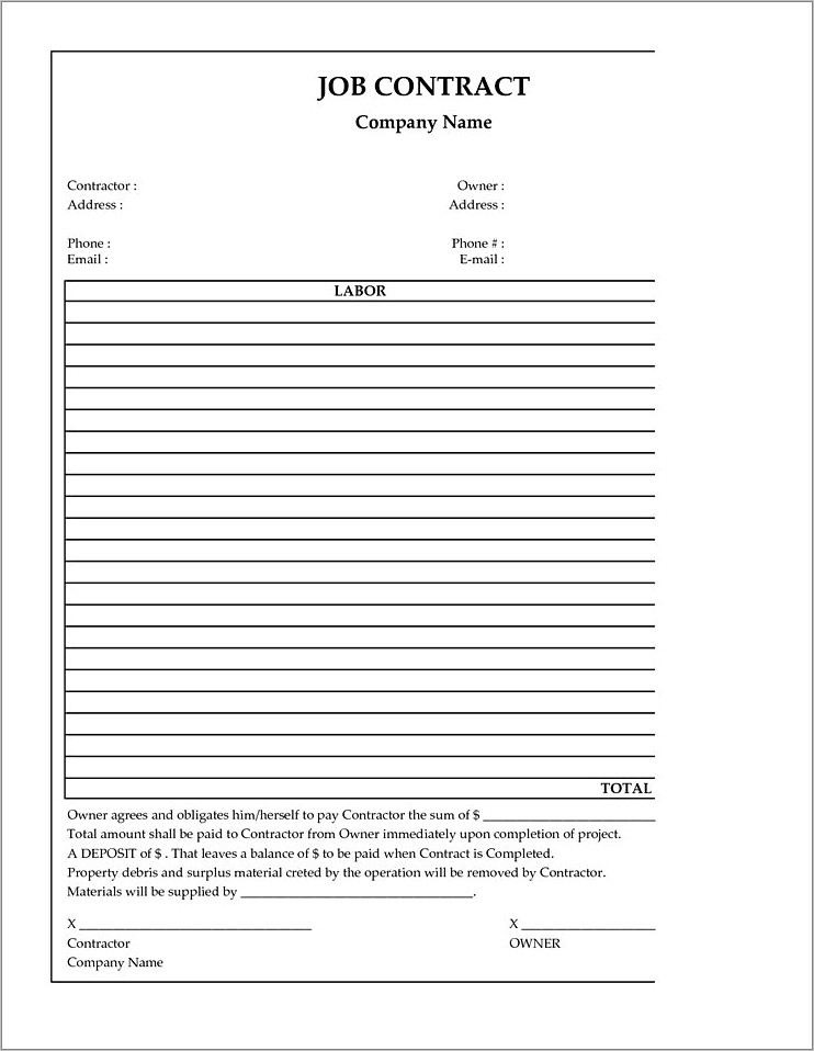 General Contractor Contract Forms
