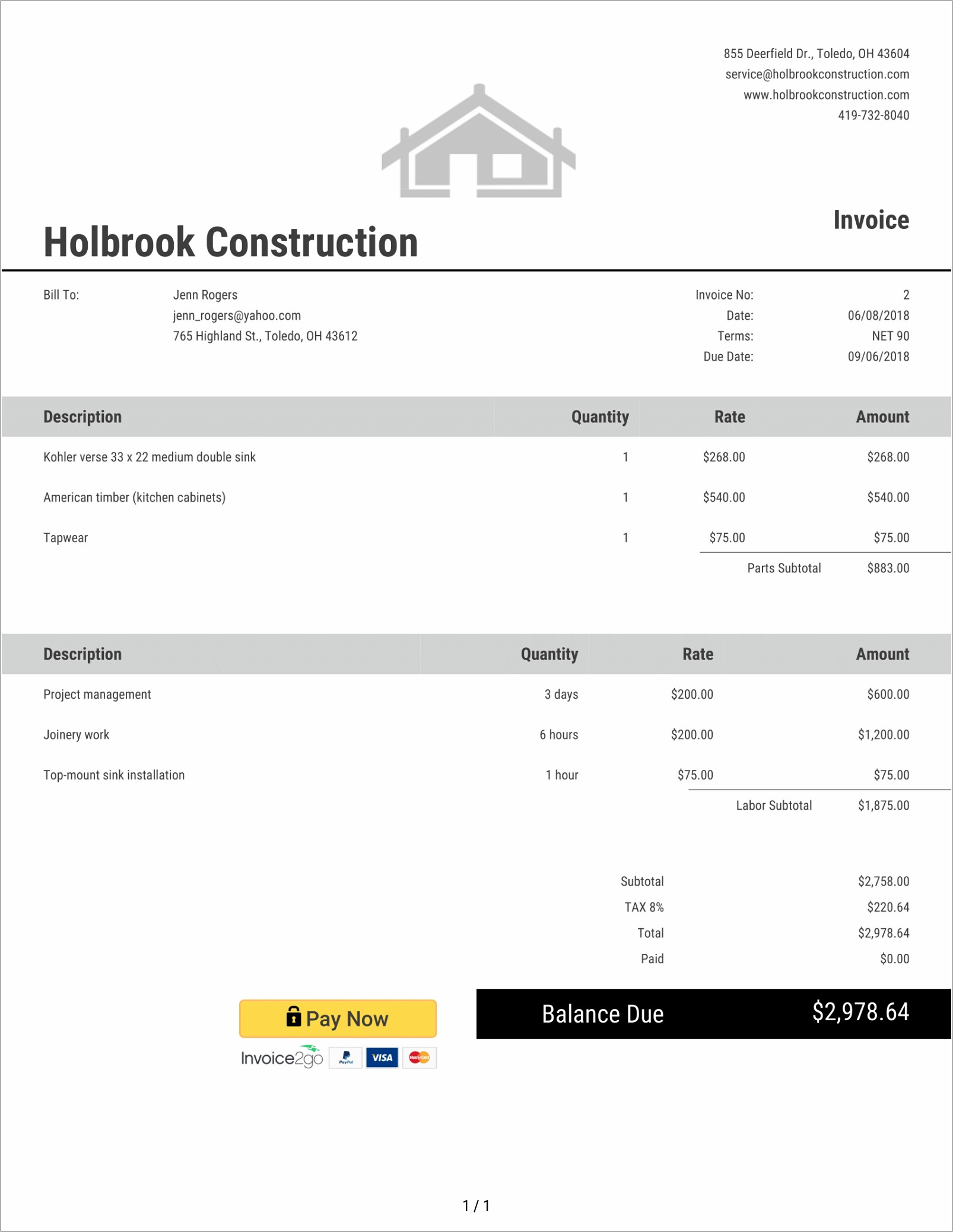 General Contractor Invoice Example