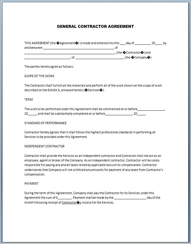 General Contractors Agreement Template