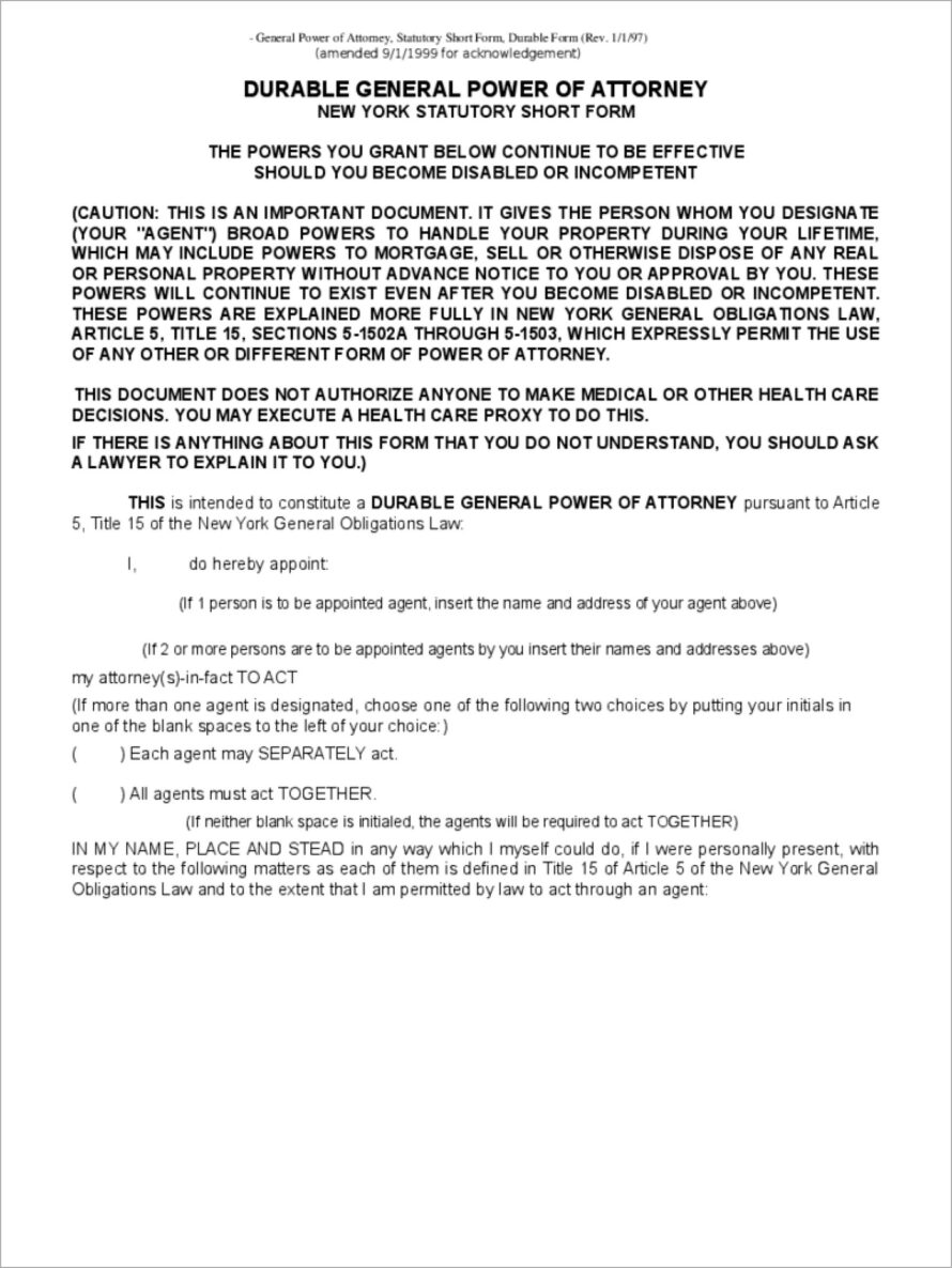 General Durable Power Of Attorney Form Texas