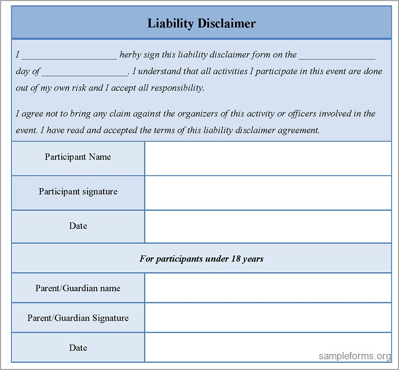 General Liability Waiver Example