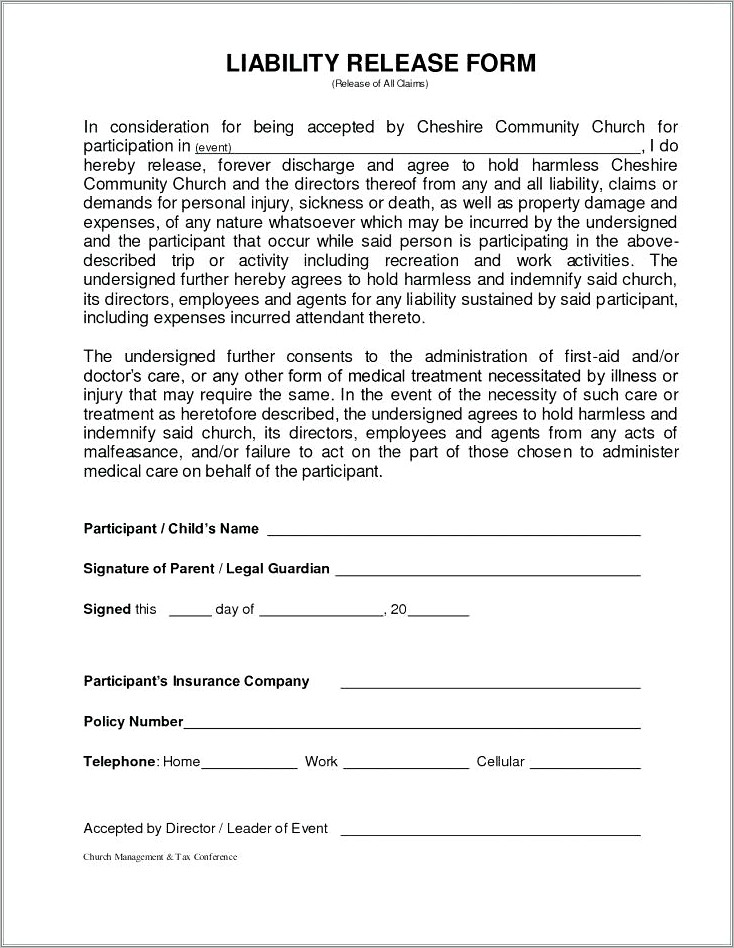 General Liability Waiver Form Florida