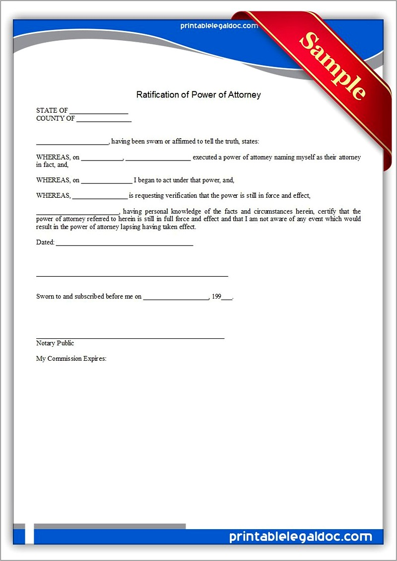 General Power Of Attorney Form Samples