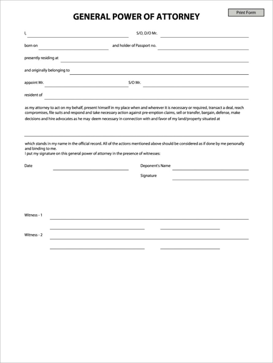 General Power Of Attorney Format India Pdf