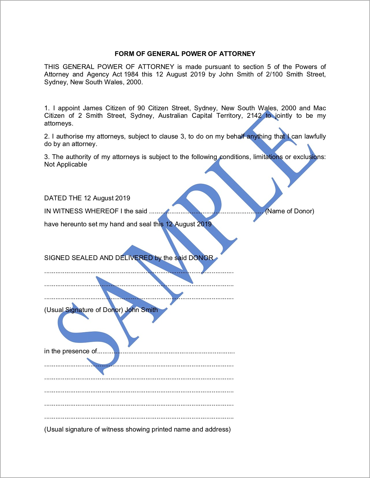 General Power Of Attorney Nsw Template