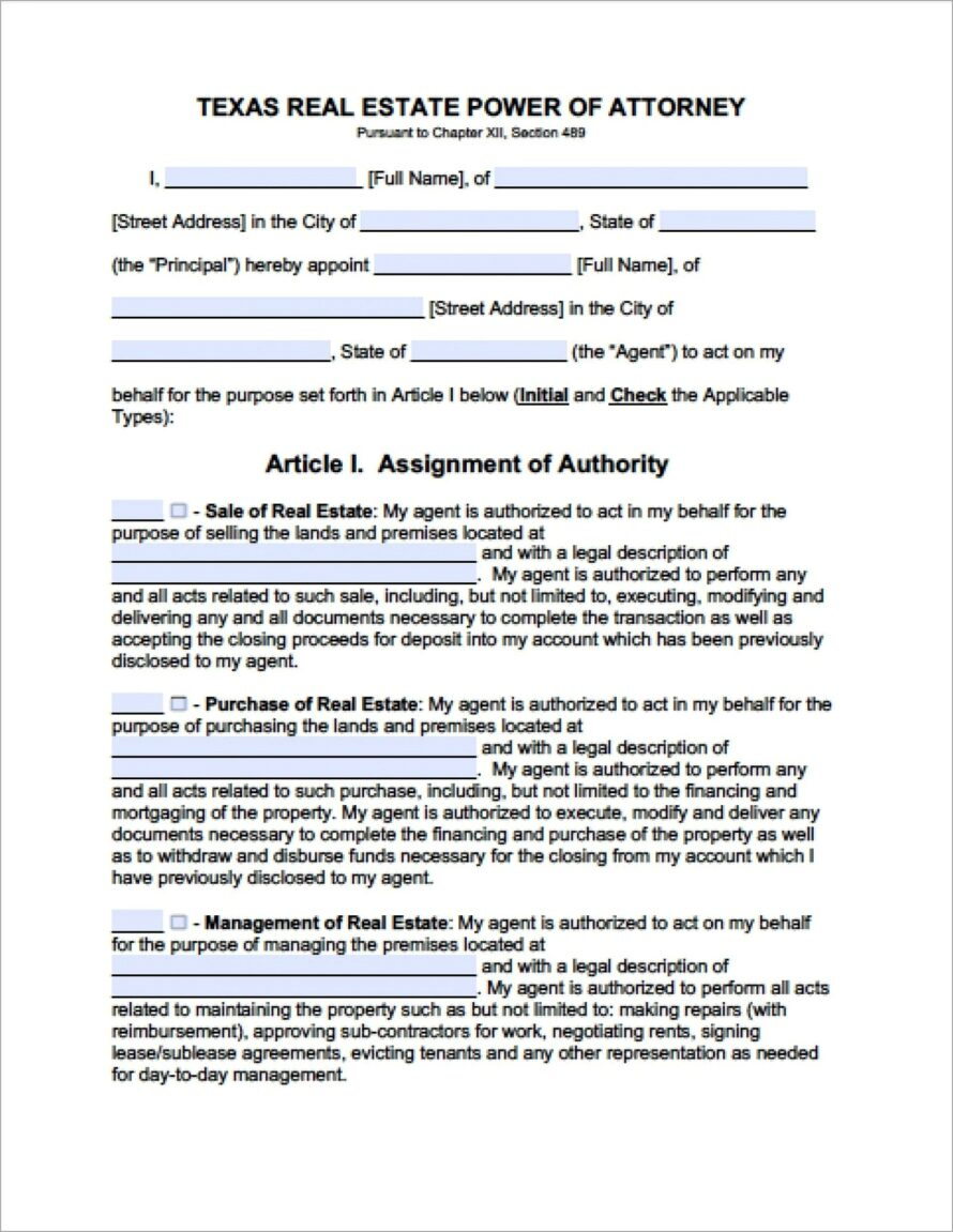 General Power Of Attorney Template Doc
