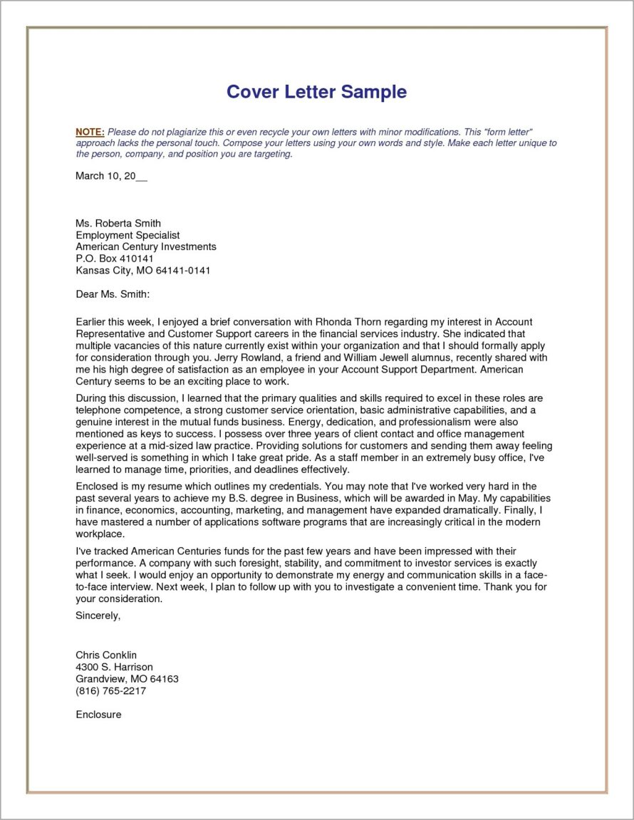 General Resume Cover Letter Example