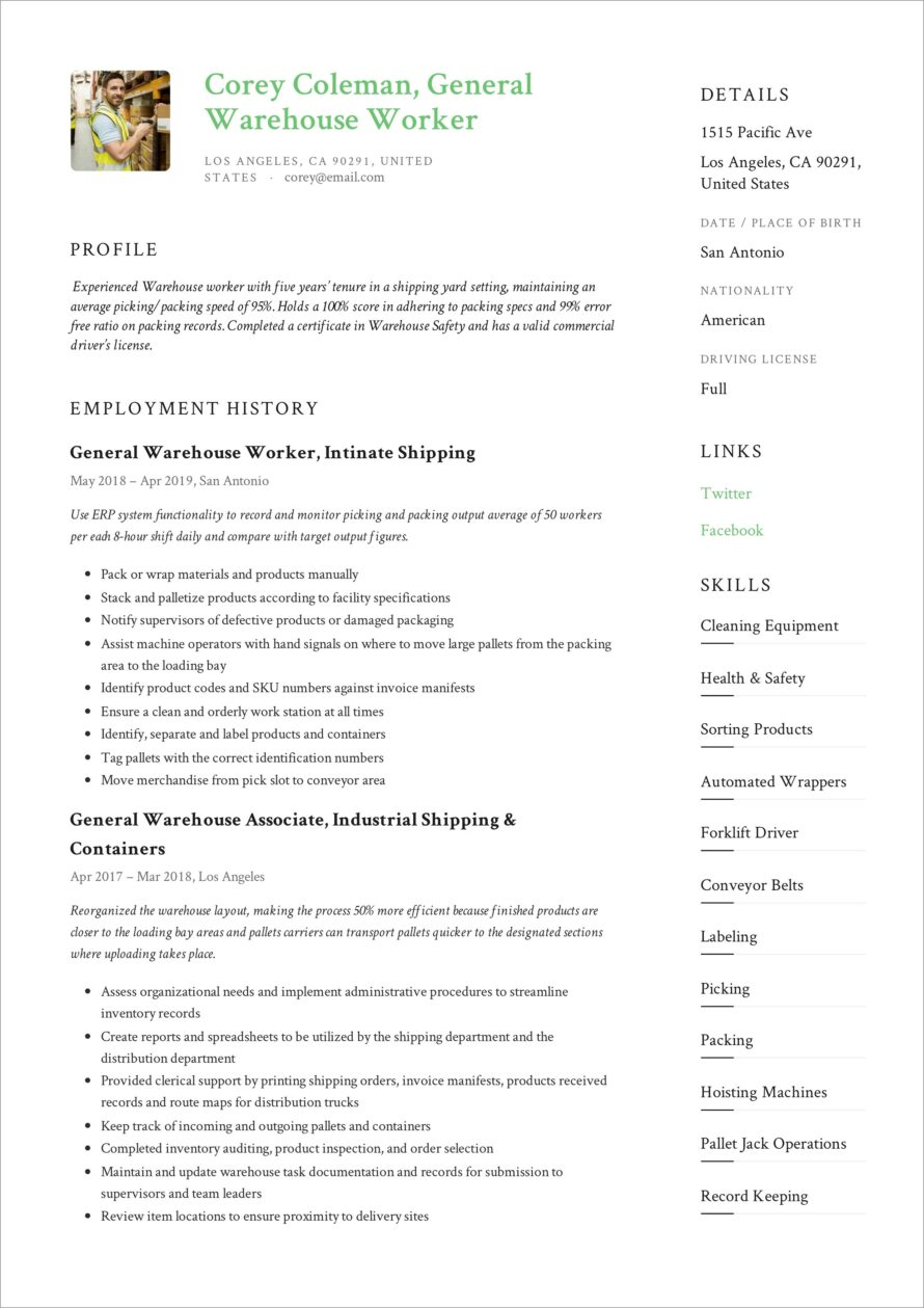 General Warehouse Resume Templates