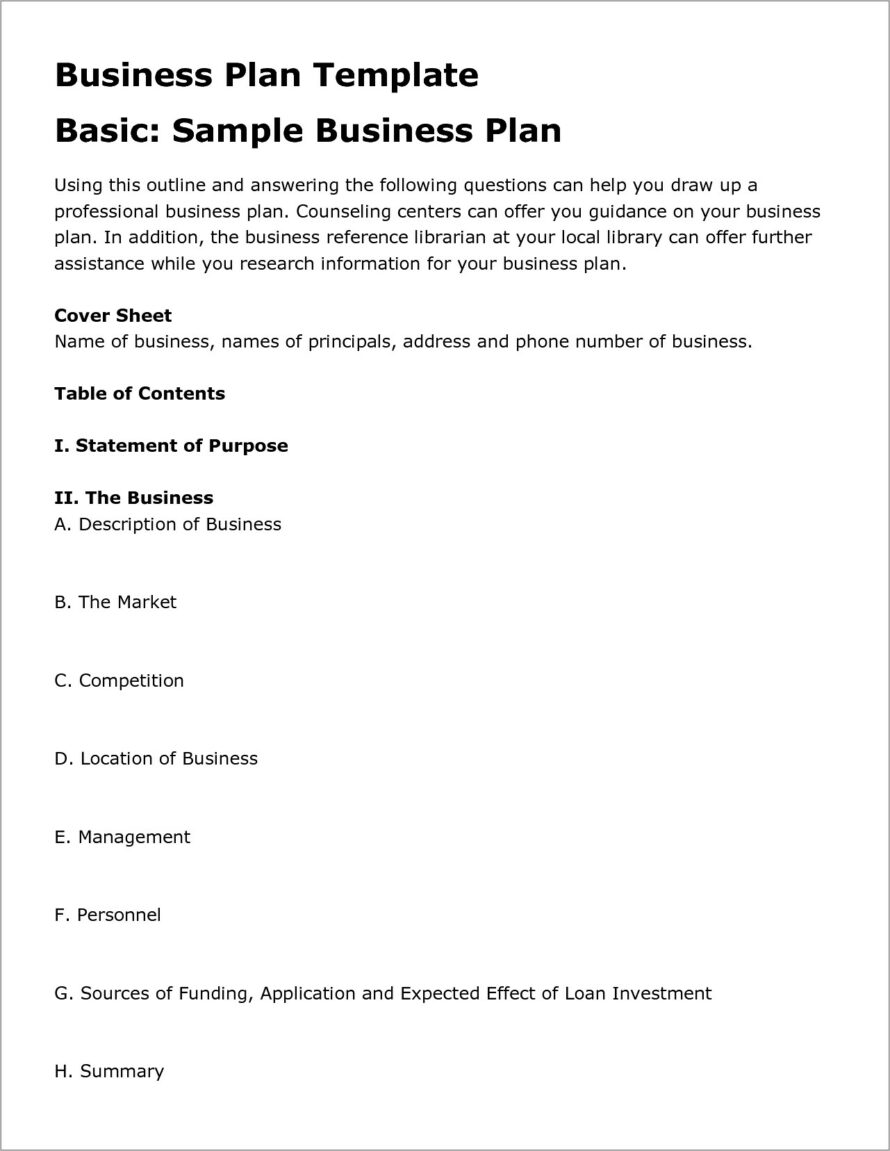 Generic Business Plan Form