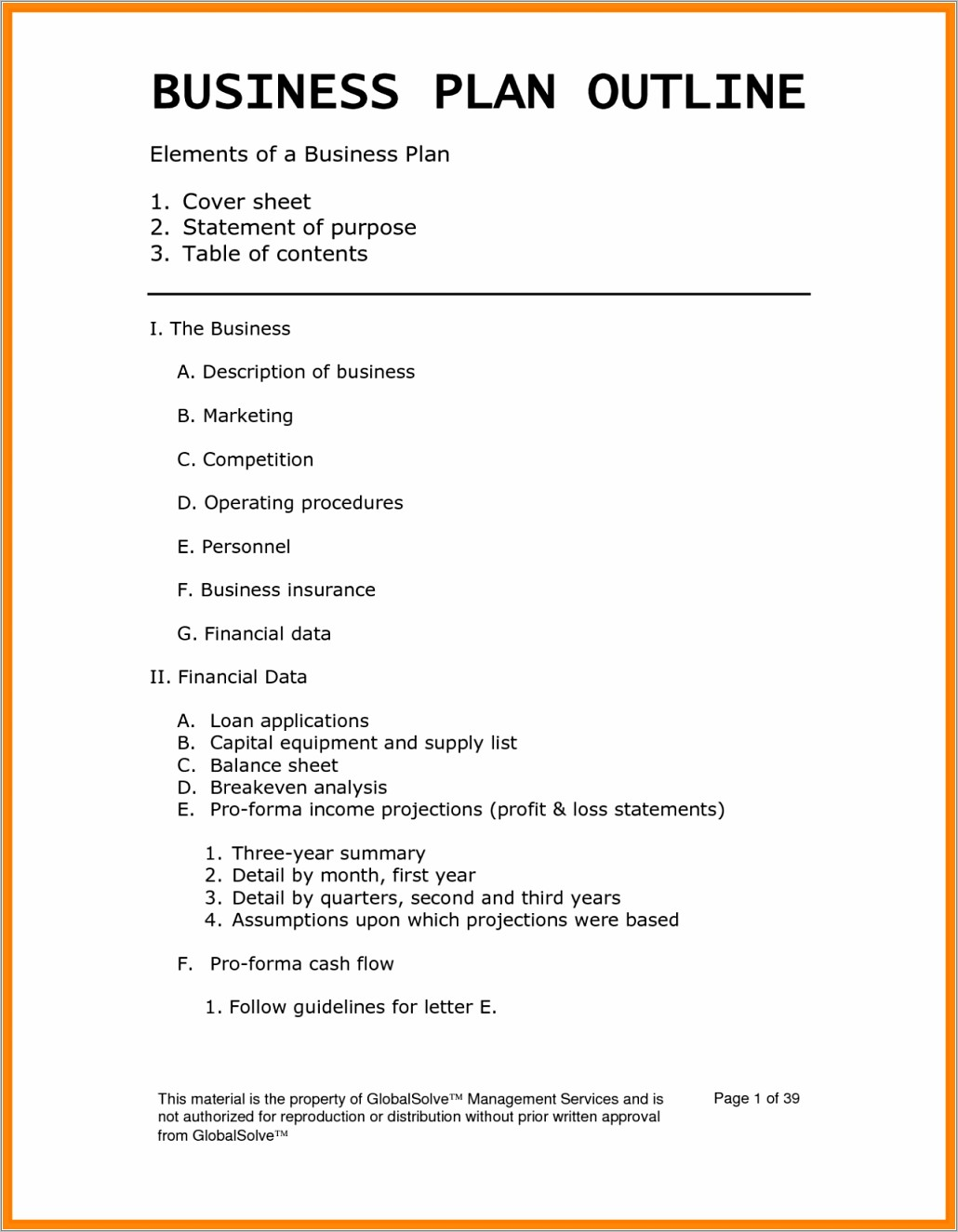 Generic Business Plan Template Free