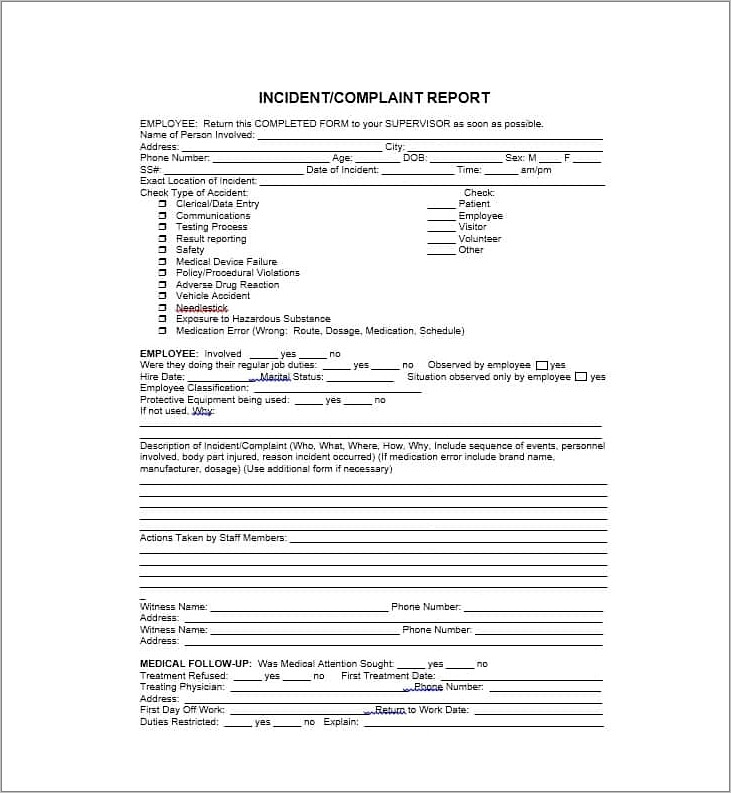 Generic Incident Report Template
