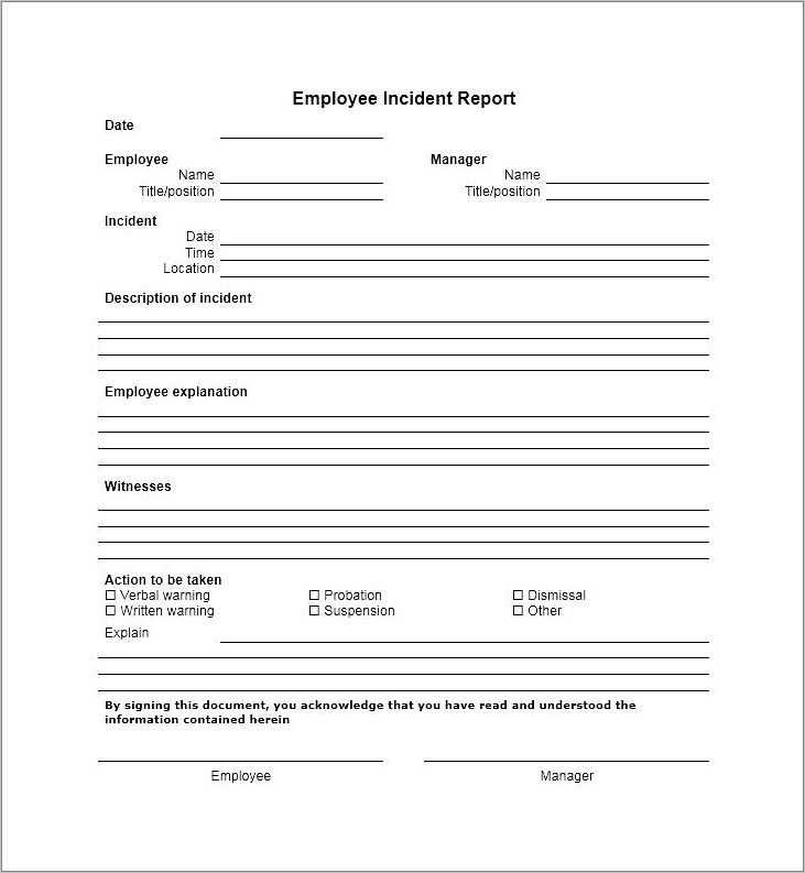 Generic Injury Incident Report Form