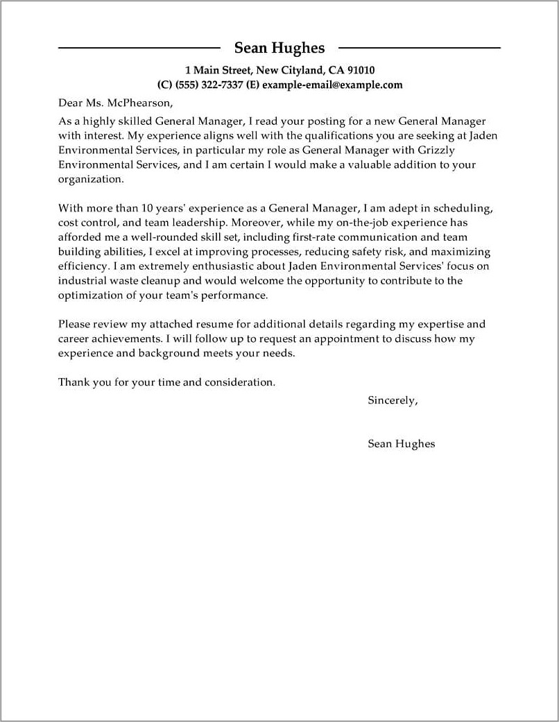 Generic Resume Cover Letter Example