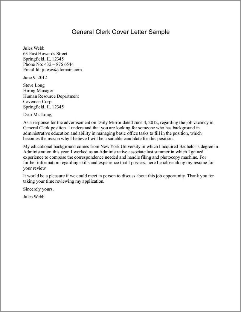 Generic Resume Cover Letter Template