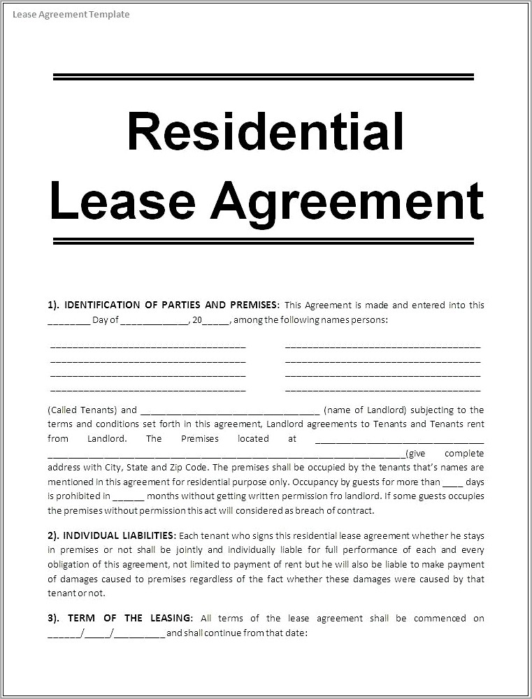 Generic Vehicle Lease Agreement Template