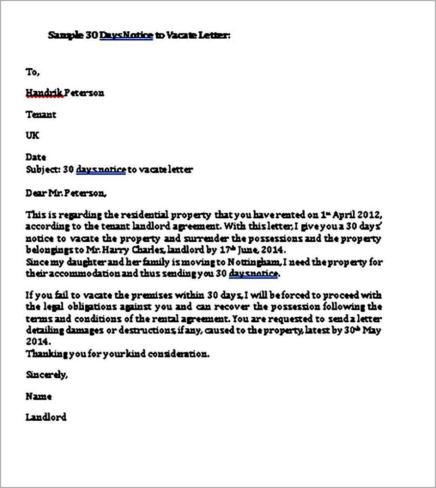 Giving 30 Days Notice To Landlord Template