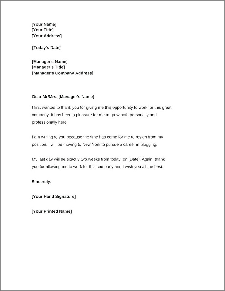 Giving A Landlord Notice Sample Letter