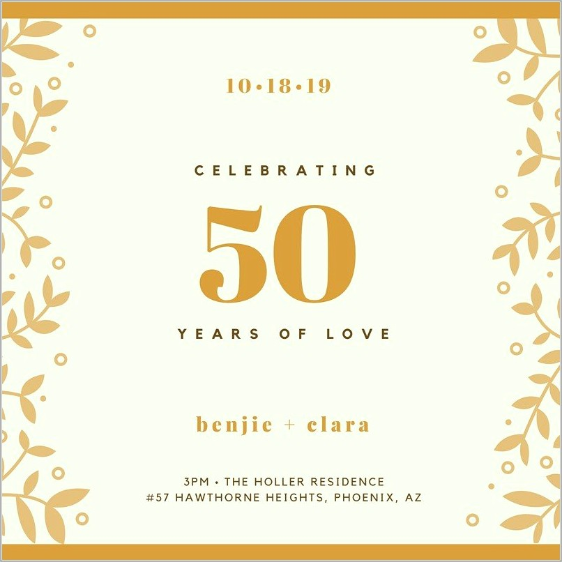 Golden Anniversary Invitation Templates