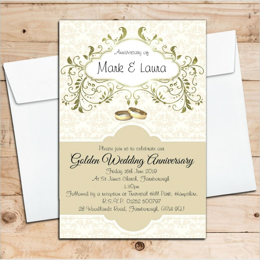 Golden Wedding Invitation Wording Samples